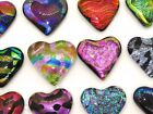 12 Montana Art Glass Rainbow Multi Color Dichroic Heart Pendant Mosaic Cabochon