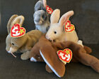 FOUR Rabbit Beanie Baby Collection EARS NIBBLY NIBBLER HOPPER-MINT CONDITION