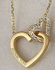 MICHAEL KORS GOLD TONE INTERLOCKING DOUBLE HEART CRYSTAL NECKLACE MSRP 11500