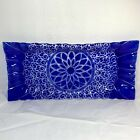 SYDENSTRICKER Fused Art Glass COBALT BLUE EMBASSY PLATTER Ruffle 155 Lace