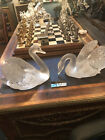 authentic Lalique Swans Head Up and Head Down pair of large swans signed