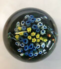 Shawn Messenger Art Glass Floral Millefiori Paperweight Signed Dated w box 1999