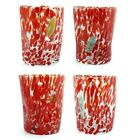 Murano Glass Drinking Glass Tumblers Set of 4 Four Red Millefiori