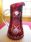 Vintage Bohemian Deep Dark Ruby Red Cut to Clear Crystal Glass Pitcher