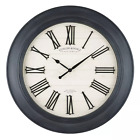 30 Black Sterling  Noble White Farmhouse Wall Clock with Raised Roman Numerals