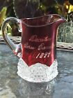 1899 CORN CARNIVAL Ruby Red Stained Glass Souvenir DECATUR Illinois Pitcher