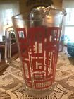 Vintage Art Deco Red Black Yellow Geometric Pattern Clear Glass Water Pitcher