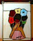 DeGrazia Stained Glass Hanging Panel Flower Girl 39304 NEW OLD STOCK