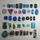 Studio Destash Large Lot 40 Fused Glass Cabochons Dichroic Murrini