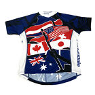 Cannondale Mens Red White Blue 2 3 Zip Flags Short Sleeve Cycling Bike Jersey XL