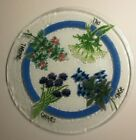 Peggy Karr Lg 13 3 4 Fused Art Glass Platter W Floral Herb Decoration Signed
