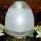 Large Handmade Fenton Frosted Glass Lamp Shade w Clear Petal Design Bell Shape