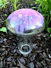 Blenko Glass Mushroom Small 3221 Crystal with Pink Frit