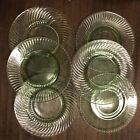 Set Of 6 pale green depression glass clear small plates 8in