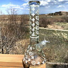 135 Frosted LV Theme Pattern Glow In The Dark Thick Glass Hookah Water Pipe