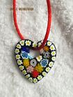 Vintage Glass Heart 20 Red Satin Cord Necklace  Pendant Fashion Jewelry NEW