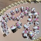 Vtg Murano Venetian Art Glass Bead Set Necklace Earrings Wedding Cake Design
