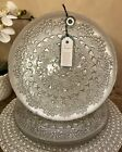 Made in Turkey Silver GLASS Decorative DINNER Plates SET OF 4