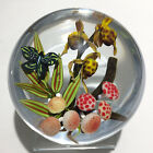 Colin Richardson paperweight flameworked orchids mushrooms and butterfly