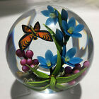 Colin Richardson paperweight flameworked blue flowers purple berries and orang