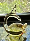 Vintage MURANO GLASS Fish Figurine GOLD Dust Lips Paperweight