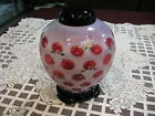 Fenton Cranberry Opalescent Coin Dot Ginger Jar with Hand Painted Flowers