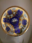 Murano Italy 24K Gold Gilded Cobalt Blue Hand Painted Applied Flowers Bowl