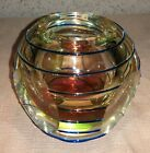 Flavio Poli Murano Glass Sommerso Candle Vase Faceted Blue Threading Vintage