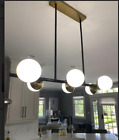 ARTERIORS WAHLBURG CHANDELIER GOLD WHITE GLASS WITH BLACK METAL