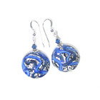 Murano Glass Blue Silver Swirl Disc Silver Earrings