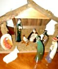 VINTAGE Nativity Set Christmas Baby Jesus Holy Land With Lighted Manager