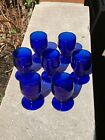 Seven Art Deco Cobalt Glass Beehive Cordials