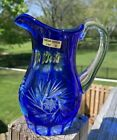 Caesar Crystal Bohemian Cut to Clear Cobalt Blue Pitcher 55 Inches At Handle