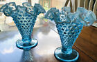 2 Vintage Fenton Art Glass Blue Opalescent Hobnail Crimped Ruffle Footed Vase 6
