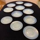Murano Dishes Italy Effetre Glass Opalescent White Plates  Bowls Signed