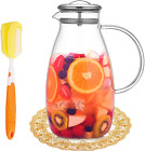 90 OZ Glass Pitcher With Stainless Steel Lid Hot Cold Water Jug Juice And Iced T