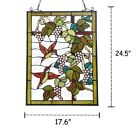 Vineyard Birds Hanging Stained Glass Window Panel Home Country Decor