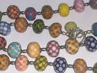 Murano Bead Charms Sgined Glass Sterling Silver 925 Chain Necklace 24