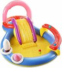 Inflatable Play Center Full Sized Kiddie Pool with Slide Above Ground Water Park