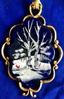 FENTON CANAAN VALLEY COBALT BLUE WITH RED CARDINAL CHRISTMAS ORNAMENT GORGEOUS