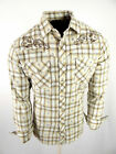 Mens Western Rodeo Cowboy Shirt Khaki Plaid Floral Embroidery Snap Up