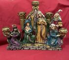 Beautiful Christmas Nativity Advent Candle Holder Detailed Candelabra w Mirror