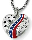 NWT Brighton PATRIOT HEART Silver Red Blue Heart Stars Crystal Necklace MSRP 68
