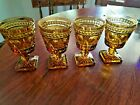 Set of 4 Indiana Pedestal Amber Goblets With Square Foot     1677