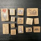 14 Vintage PSX All Night Media Wooden Rubber Mounted Stamps Lot Easter Bunny