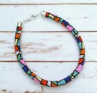Bead Crochet Rope Harness Mosaic Puzzle Stained Glass Window Look Necklace NEW