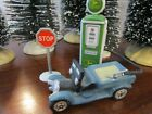 Vtg Christmas Village Pieces Lemax O'Well China Car J Deere Gas Pump Stop Sign