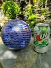 LARGE STUDIO ART GLASS BALL FLOAT PURPLE END OF DAY WITH BLUE SWRIL 6