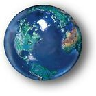 Blue Earth Marble with Natural Earth Continents Recycled Glass 5 with a Pouch