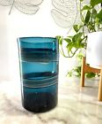 Retired West Elm Hand Blown Glass Vase Mid Century Style Turquoise Blue 85